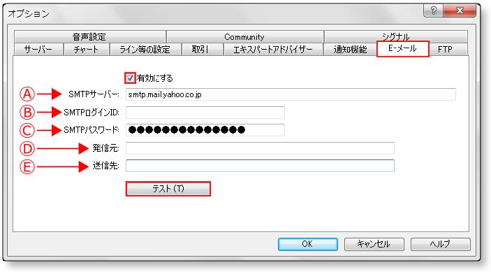 SMTP-mt4-メール設定