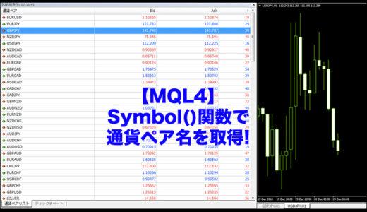 【MQL4】Symbol()関数で通貨ペア名を取得!EAやインジケーターの開発で使う関数!